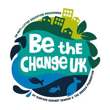 A cicular logo representing the world, with tyalised oceans and cities in green and blue. In the middle 'Be the Change UK' is written. This logo belongs to Surfers Against Sewage.