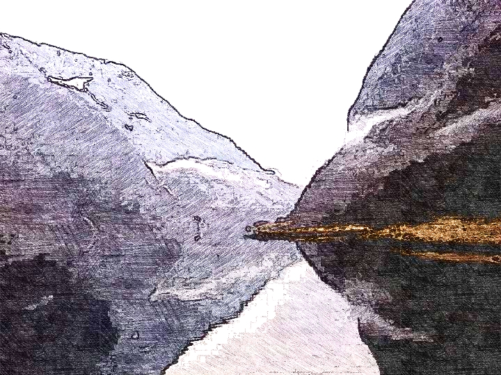 This image is a sketch depicting a fjord; mountains and white sky reflected in water.
