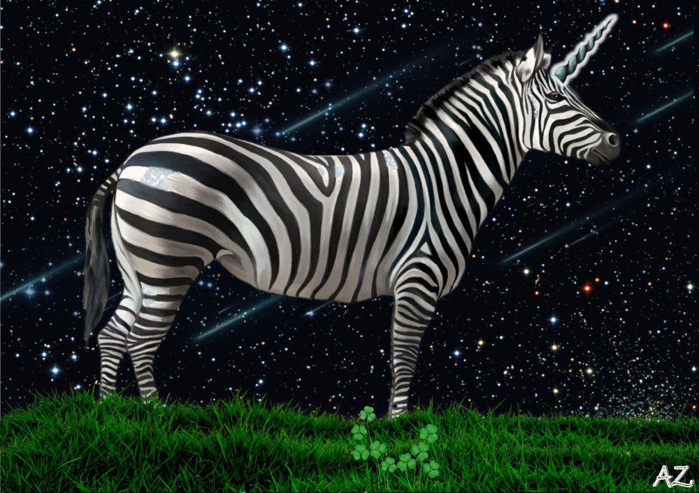 a zebra unicorn stands on clover grass under a starry night sky full of shooting stars